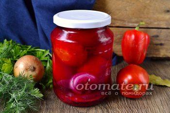 Маринованные помидоры с яблоками и свеклой