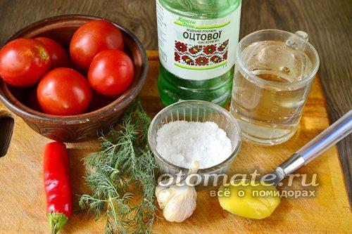 помидоры и специи для рецепта