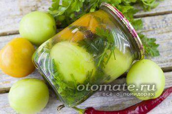 зеленые помидоры с чесноком