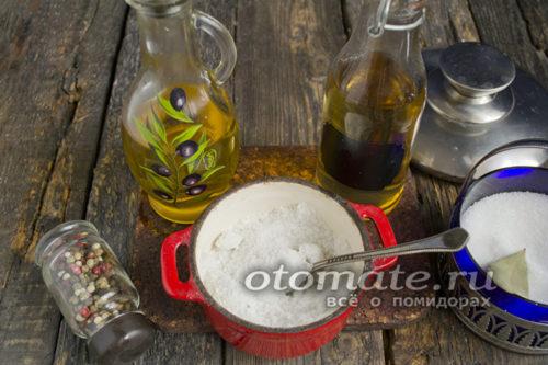 масло, соль и уксус
