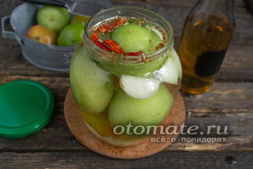 засолка зеленых помидор на зиму