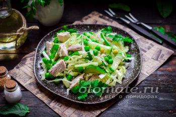 салат с куриным филе и капустой