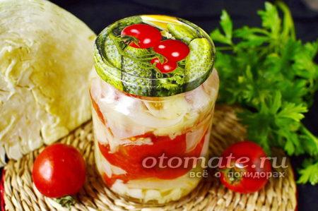 помидоры с капустой и луком